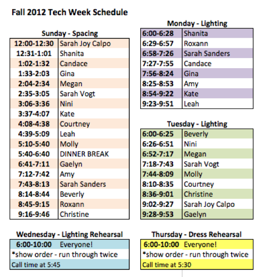 tech week schedule